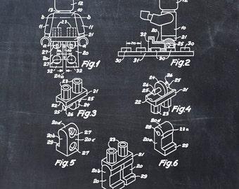 Lego Man Patent Print - Figure Toy Building Blocks Patent Art Print Patent Poster