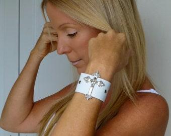 Genuine Leather Cross Bracelet Wristband