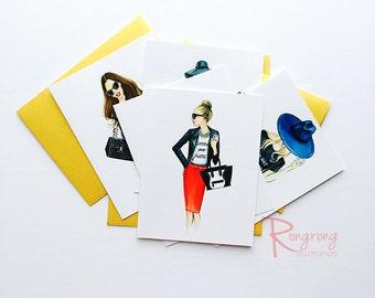 Fashion cards,Greeting cards,Fashionista gift, Greeting cards set, Greeting cards blank, fashion greeting cards, Handmade greeting cards