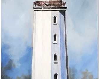 Original acrylic on canvas: Lighthouse Dornbusch Hiddensee / 30 x 60 cm