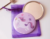 Pocket Mirror 58mm ~ Purple Unicorn ~ mothers day gift ~ valentines present ~ unique gift for friend, sister, girlfriend
