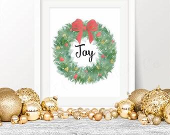 50% OFF! Christmas Wreath Printable, Watercolor Christmas Print Joy Instant Download 8x10 Christmas Printable Wall Art Holiday Decor Poster