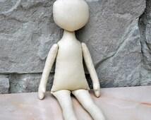 """Blank doll body-12"""",  blank rag doll, ragdoll body,the body of the doll made of cloth"""