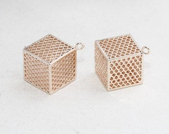 1 Pcs 15mm Rose Gold Cube Necklace, Filigree Cube, Cube Necklace, Pendant , Geometric, Open Cube Necklace, ROSE167
