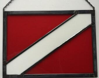 Stained Glass Scuba Diver's Flag, Scuba Diver's Flag,
