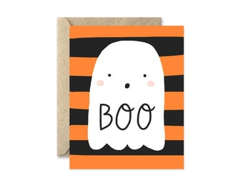 Ghost Halloween Card, Orange and Black Stripes, Boo