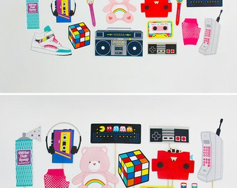 80s Party Decorations, 80s Photo Booth Props Printable, 80s banner | INSTANT DOWNLOAD