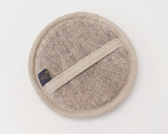 Organic Linen Terry SPA Round Bath Shower Pad in Natural