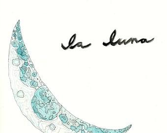 DIGITAL DOWNLOAD La Luna moon watercolor and ink