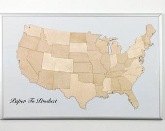 Usa United States Of America Magnetic Laser Cut Wood Map Puzzle