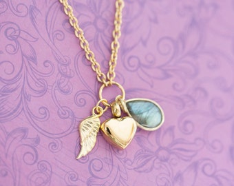 Gold Labradorite Memorial Pendant with Angel Wing - Cremation Jewelry - Engraved Jewelry - Urn Necklace - Pet Memorial - Ash Necklace