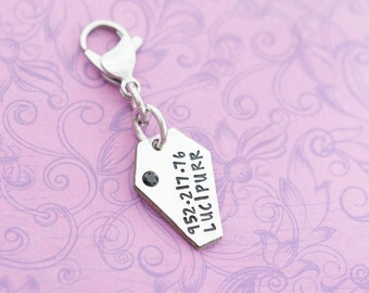 Hand Stamped Pet Swag - Personalized Pet ID Tag - Hand Stamped Jewelry - Coffin Pet Tag - Coffin Necklace - Coffin Jewelry