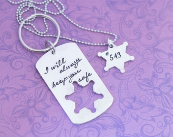 Hand Stamped Sheriff Necklace and Keychain Set - Sheriff Badge - Sheriff's Wife - Hand Stamped Jewelry