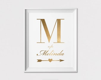 personalized gift Initial Wall art, Initial Print, Personalised print, Custom Poster, Minimal, Faux of Gold Initial,  ArtFilesVicky