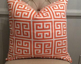 Handmade Decorative Pillow Cover - Orange Greek Key - Premier Prints Onyx Tower