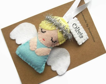 christmas angel ornaments personalised gift christmas tree decorations felt hanging decorations - Angel Decorations