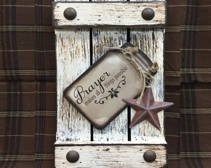 SIGN Mason JAR PRAYER makes all things possible Reclaimed Pallet Wood Rustic Distressed Ball Canning Pray Country Kitchen Faith Wall Shutter
