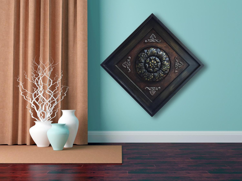 Metal Wall Art Wood Espresso Framed Metal Fleur De Lis Gold