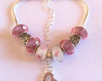 Bracelet charm's, pink, with charm Heart Rhinestone ref 699