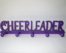 Cheerleader Medal Holder, Cheerleader Medal Display, Cheerleader bedroom accessories, Cheer gift, Cheerleading, Cheer wall decor - Purple