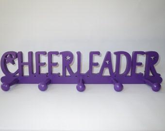 Cheerleader Medal Holder, Cheerleader Medal Display, Cheerleader bedroom accessories, Cheer gift, Cheerleading, Cheer wall decor - Purple