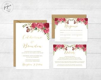 Floral Wedding Invitation Printable Wedding Invitation Suite Rustic Wedding Invite Boho Wedding Invite Peonies Wedding Invite Cassie Set