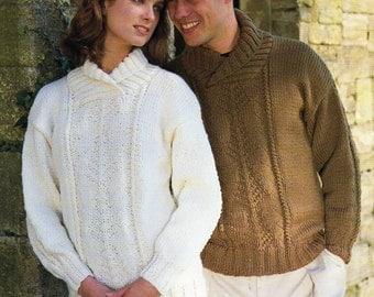 c1c2670e8ecdbd womens mens chunky sweater knitting pattern PDF ladies jumper shawl collar  pattern panel 32-46