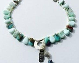 Peruvian Blue Opal Bojo Necklace