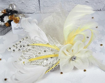 Lemon & ivory hair piece, Wedding headpiece, Royal ascot, Ladies day, Mother of the bride, Wedding hat alternative, Yellow hair accessories