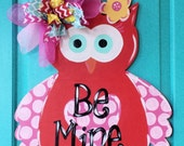 Valentines Day Owl Wood Door Hanger by Simply aDOORable.  Owl Door Decor, Valentine Door Decor, Valentine's Day Wreath, Valentine's Day,