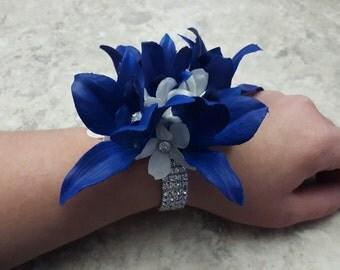 Mini ROYAL BLUE Bom Dendrobium Orchids & White Stephanotis Flowers Rhinestone Wrist Corsage (Wedding / Prom)