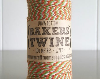 100mt roll 12ply GREEN/ORANGE/White Bakers Twine 100% cotton