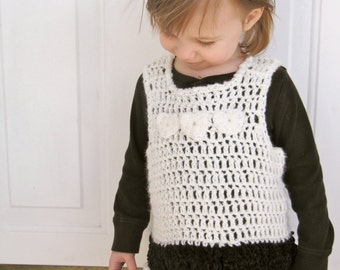 2/3T Monochrome Baby Toddler Jumper / Hand Crocheted Sweater Dress / Little Girls Tunic White and Black Minidress / Winter Flower Girl Dress