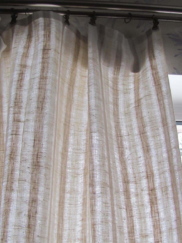 Scandinavian Vintage Curtain Panel Woven Striped Linen