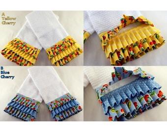 Ruffled Kitchen Towels, Kitchen Linens, Towel Decor, Decorative Towels,  Yellow Kitchen Towels