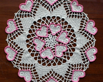Crochet doily, ecru with hearts outlined in pink, Valentine's Day doily, heart doily