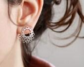 Ear jacket earring , Sterlings silver or Gold,  Stud Earrings, wedding earrings, bride earrings, mandala earrings , Statement earrings  ,