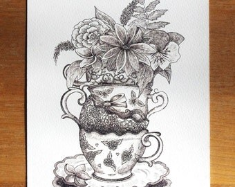 Vintage Cups and Saucers A5 Art Print