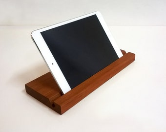 iPad Stand, Tablet Stand, Elegant Wood  Docking Station,  Handmade  Sustainably Sourced Tropical Hardwood, Mahogany, Walnut, Teak
