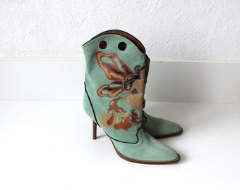 Patchwork Boots Etsy