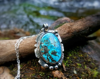 925 Sterling Silver Turquoise Necklace - Ready to Ship - OOAK - Rustic - Gift
