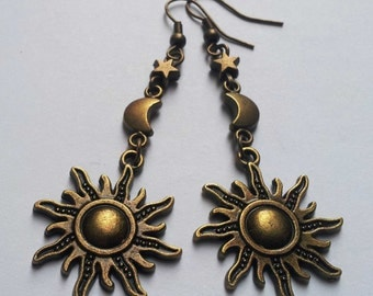 Bronze Moon Star Sun Earrings , Bronze Earrings , Moon Earrings , Star Earrings , Sun Earrings , Celestial Earrings , Beach Jewellery , Gift