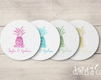 Pineapple Wedding Coasters | Personalized Barware | Cocktail Coasters | Custom Foil Coasters | Drink Coasters | Letterpress Foil Coasters
