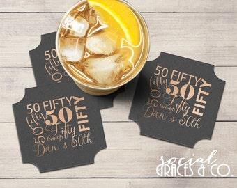 Drink Coasters | Monogram Barware | Celebrate 50 Years