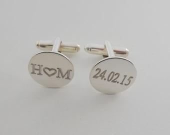 Silver Engraved Cufflinks,Wedding Cufflinks for Groom,Silver Intials Cufflinks,Personalized Circle Date Cufflinks,Initials Groomsmen Gift