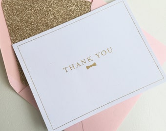 6 Pack - Gold Foil Bow-Tie Letterpress Folded Thank You Cards
