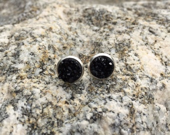 Black druzy earrings, silver earrings, stud earrings