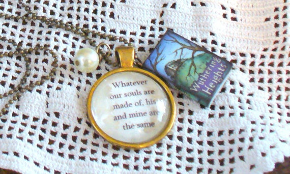 Book Nook Necklace, Wuthering Heights Necklace, Quote Necklace, Whatever Our Souls Are Made of Necklace, Nerd, Gold Necklace, MarjorieMae