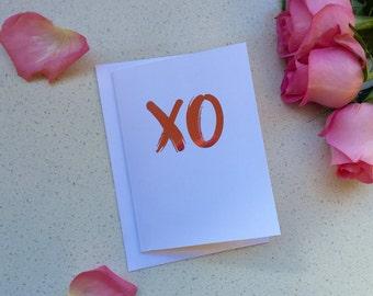 XO / Best Friend Card / Wedding Card / Bride Card / Valentines Card / Silver Foil Card / Best Friend Card 5x7 Inch Card / Greeting Card