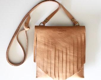 Fringe Bag Boho Bag Cross Body Satchel handmade in Australia using Vegetable Tanned Leather